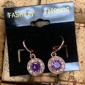 Jewelry - Rose gold tone & purple rhinestone earrings
